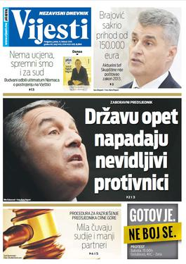 """Naslovna strana """"Vijesti"""" za 15. februar"""