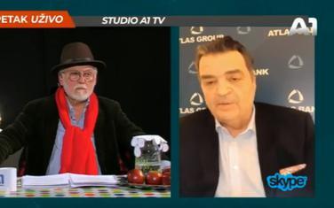 Voditelj emisije Mihailo Radojičić i Duško Knežević