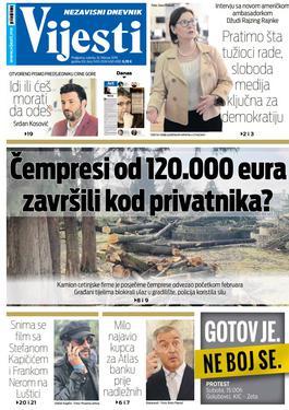 """Naslovna strana """"Vijesti"""" za 16. februar"""