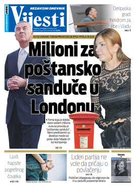 """Naslovna strana """"Vijesti"""" za 18. februar 2019. godine"""