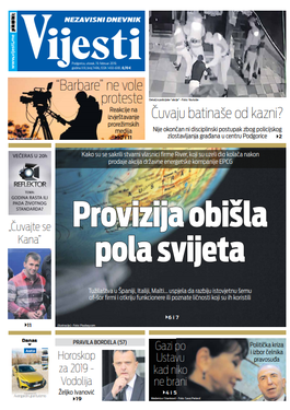 """Naslovna strana """"Vijesti"""" za 19. februar"""