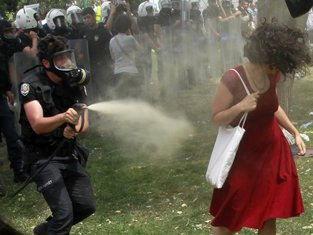 Žena u crvenoj haljini, protesti u Istanbulu