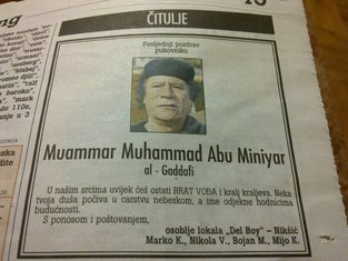 čitulja Gadafiju