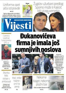 """Naslovna strana """"Vijesti"""" za 1. mart"""