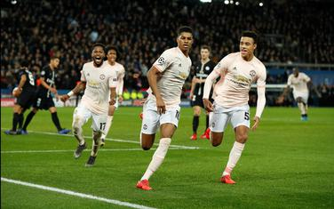 Markus Rašford slavi gol za prolaz Mančester junajteda