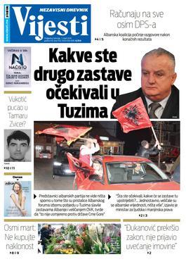 """Naslovna strana """"Vijesti"""" za 7. mart"""