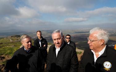 Lidzi Grejem, Benjamin Netanjahu i Dejvid Fridman na Golanskoj visoravni
