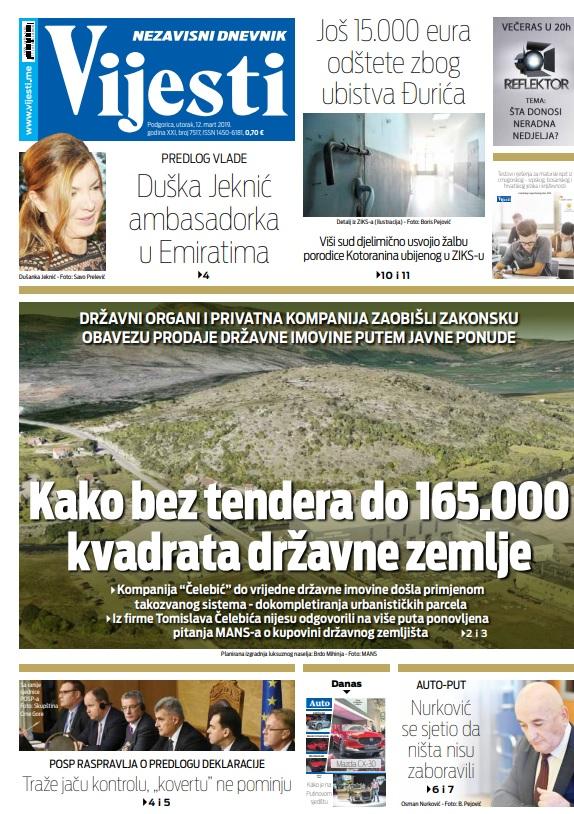 """Naslovna strana """"Vijesti"""" 12.3."""