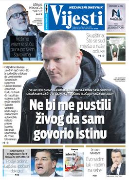 """Naslovna strana """"Vijesti"""" za 14. mart"""
