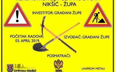 """Plakat za """"radove"""" u Župi"""