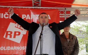 Prigrabimo slobodu: Šćepanović na jednom od mitinga Radničke partije