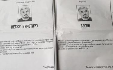Čitulje Jovana i Igora Vukotića