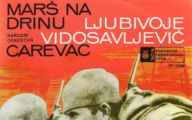 """Singl """"Marš na Drinu"""" Ljubivoja Vidosavljevića Carevca, 1966."""