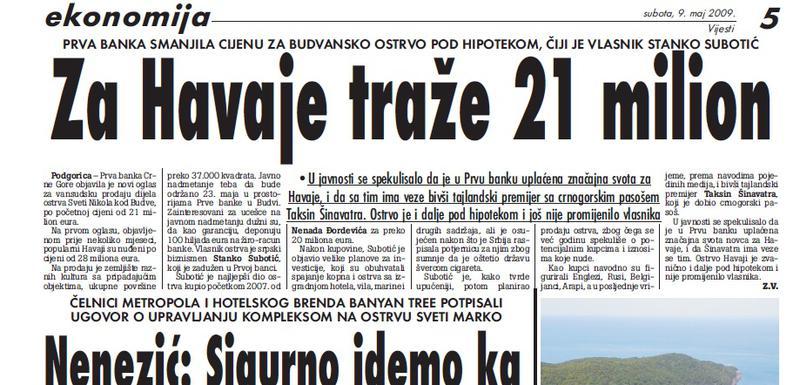 """Vijesti"""", 9. maj 2009."""