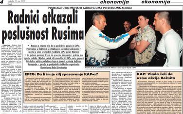 """Vijesti"""", 10. maj 2009."""