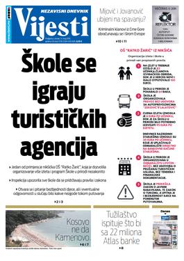 """Naslovna strana """"Vijesti"""" za 14. maj"""