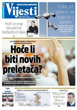 """Naslovna strana """"Vijesti"""" za 15. maj"""