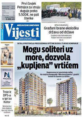 """Naslovna strana """"Vijesti"""" za 16. maj"""