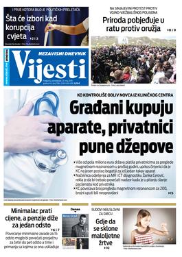 """Naslovna strana """"Vijesti"""" za 20. maj"""