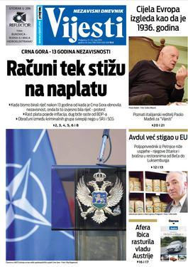 """Naslovna strana """"Vijesti"""" za 21. i 22. maj"""