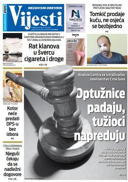 """Naslovna strana """"Vijesti"""" 23.5."""