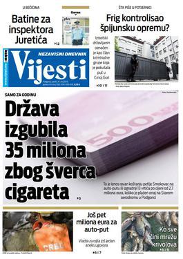 """Naslovna strana """"Vijesti"""" za 24. maj"""