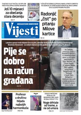 """Naslovna strana """"Vijesti"""" za 26. maj"""