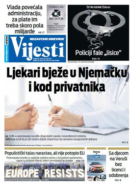 """Naslovna strana """"Vijesti"""" za 28. maj"""