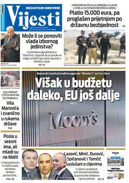Naslovna strana Vijesti 29.5.
