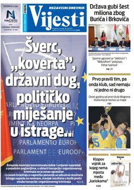 """Naslovna strana """"Vijesti"""" za 30. maj"""