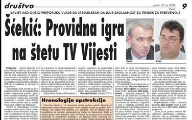 Vijesti, 20. jun 2009.