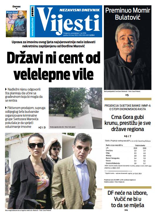 "Naslovna strana ""Vijesti"" za prvi jul"