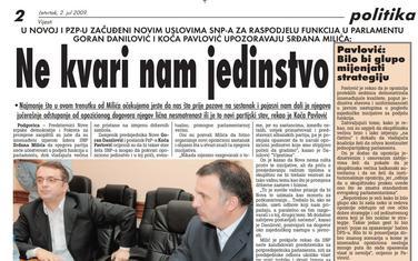 Vijesti, 2. jul 2009.