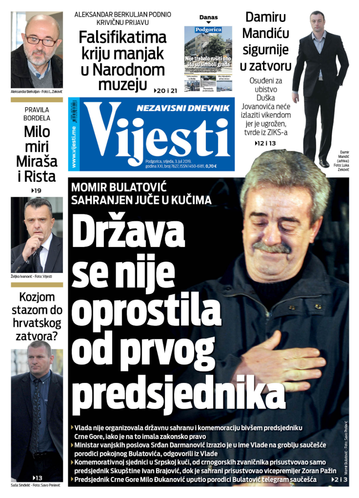 """Naslovna strana """"Vijesti"""" za 3. jul"""