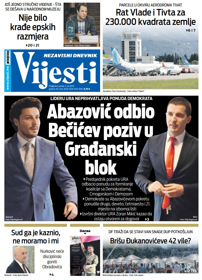 """Naslovna strana """"Vijesti"""" za 5. jul"""