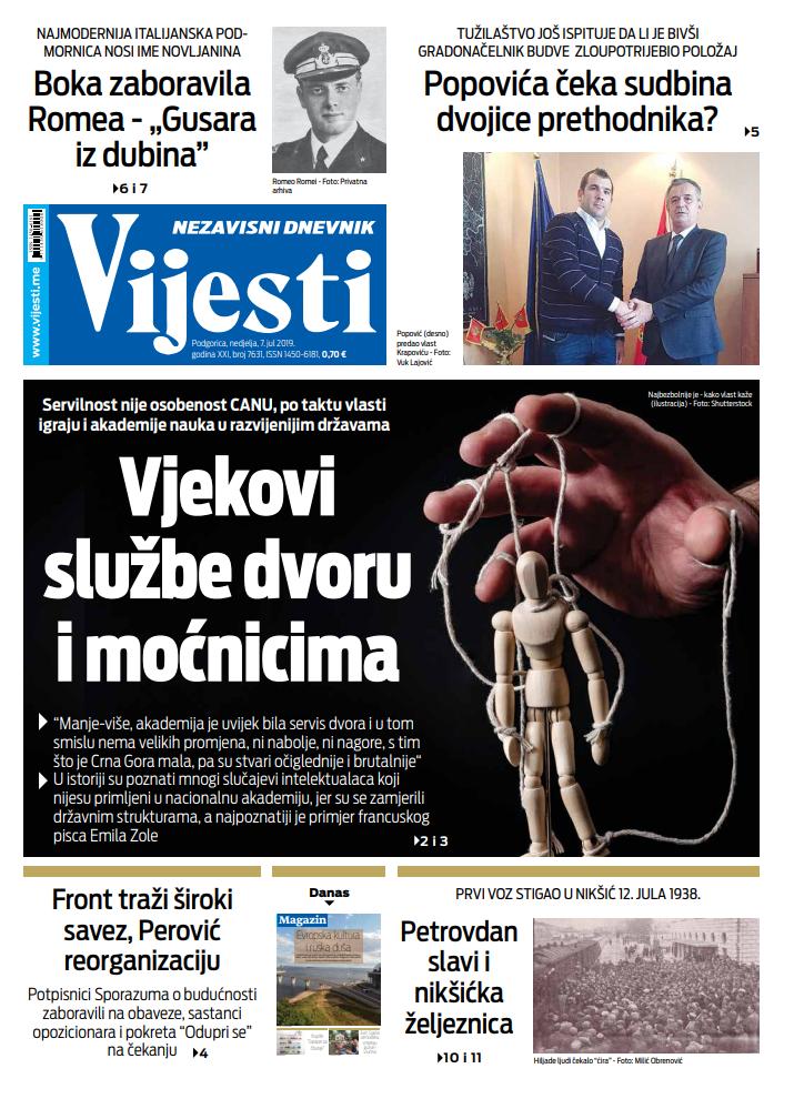 """Naslovna strana """"Vijesti"""" za 7. jul"""