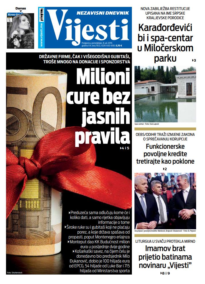 """Naslovna strana """"Vijesti"""" za 8. jul"""