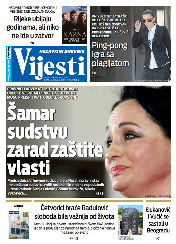 """Naslovna strana """"Vijesti"""" 14.7."""