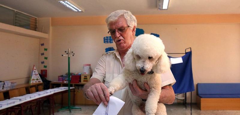 Jedan od glasača na vanrednim parlamentarnim izborima u Grčkoj na kojima je pobedu odnela konzervativna partija Nova Demokratija