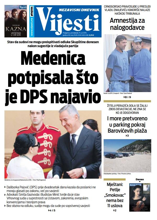 """Naslovna strana  """"Vijesti"""" 15.7."""