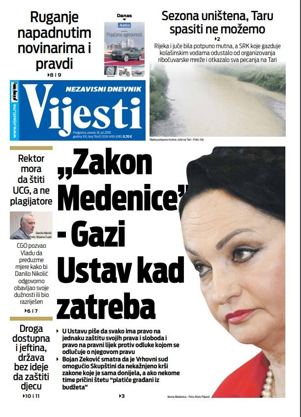 """Naslovna strana """"Vijesti"""" 16.7."""