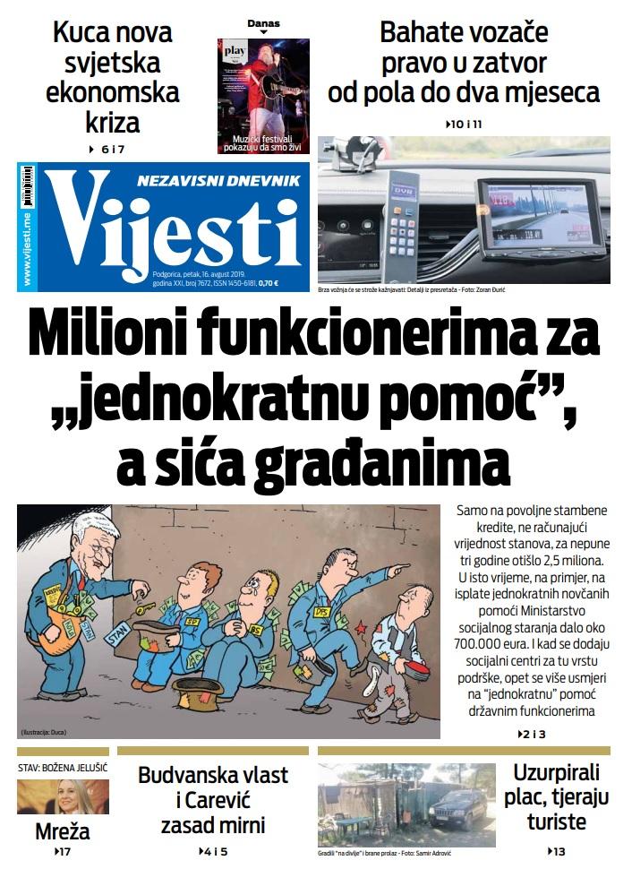 "Naslovna strana ""Vijesti"" za 16. avgust"