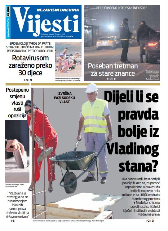 "Naslovna strana ""Vijesti"" za 17. avgust"