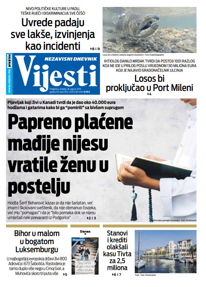 "Naslovna strana ""Vijesti"" za 18. avgust"