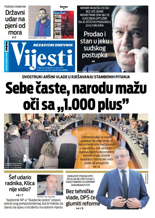 "Naslovna strana ""Vijesti"" za 19. avgust"