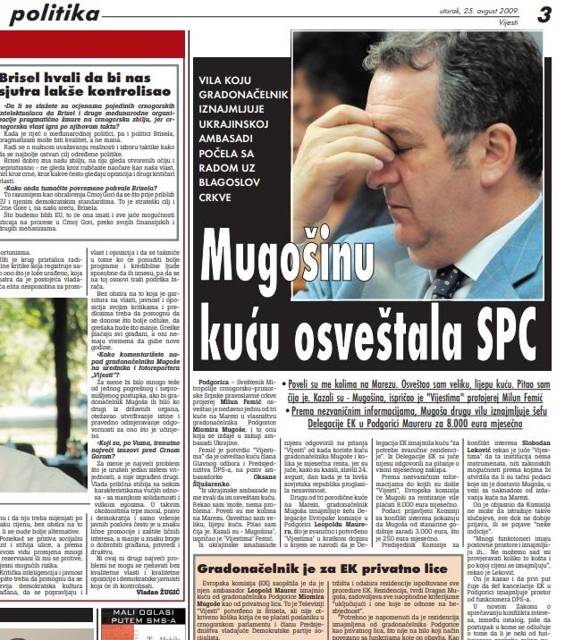 Vijesti, 25. avgust 2009.