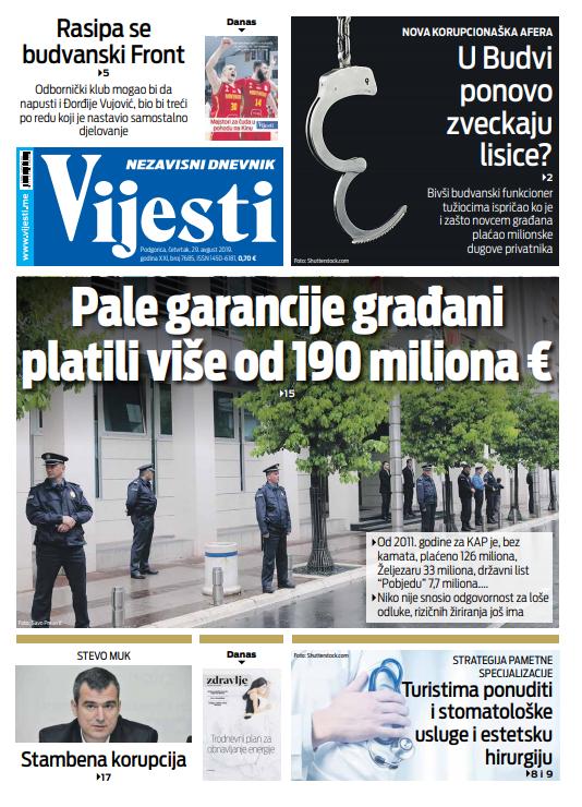 "Naslovna strana ""Vijesti"" za 29. avgust"