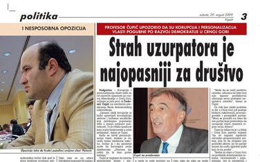 """Strana """"Vijesti"""" od 29. avgusta 2009."""