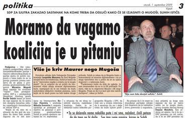 Vijesti, 1. septembar 2009.