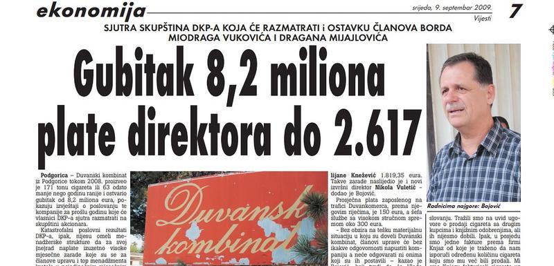 """Stranica """"Vijesti"""" iz 2009. godine"""